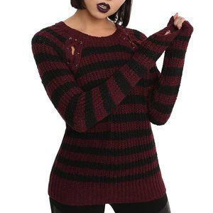 Knit Striped Sweater with Laced Shoulder Detail